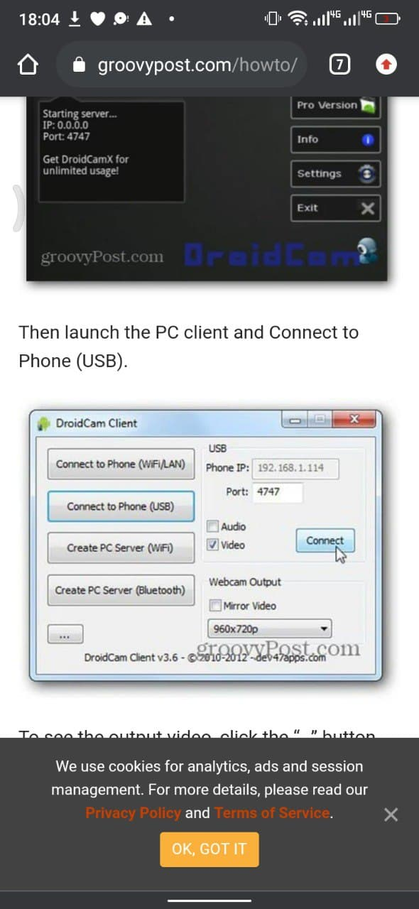 How To Use Droidcam With Usb
