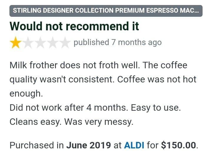 Aldi Espresso Machine reviews